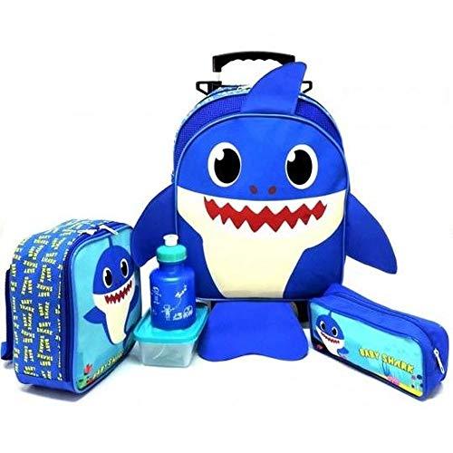 Kit Mochila Infantil Baby Shark Rodinha Azul M Papai Tubarão