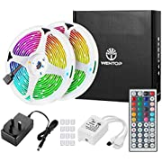 WenTop Led Strip Lights with Remote 10m, RGB LED Lights for Bedroom, Home, Wall, Ceiling, Festival, Party, SMD 5050 Multi Colour Lights Strips Kit(2 X 5m)