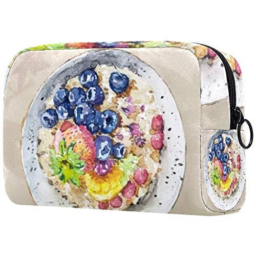 Trousse de toilette portable personnalisée pour femme - Sac à main cosmétique - Organiseur de voyage pour petit-déjeuner, fruits et flocons d'avoine