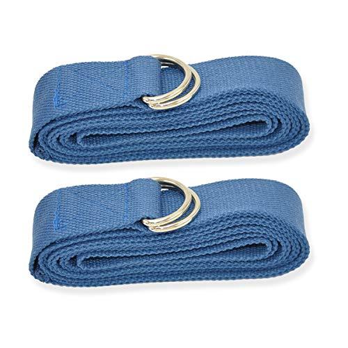 Labewin Correa de Yoga - Algodón Duradero - Hebilla de Anillo en D de Metal Ajustable Mantener Poses, Equilibrio, flexibilidad de Estiramiento, física y Terapia (Paquete de 2)