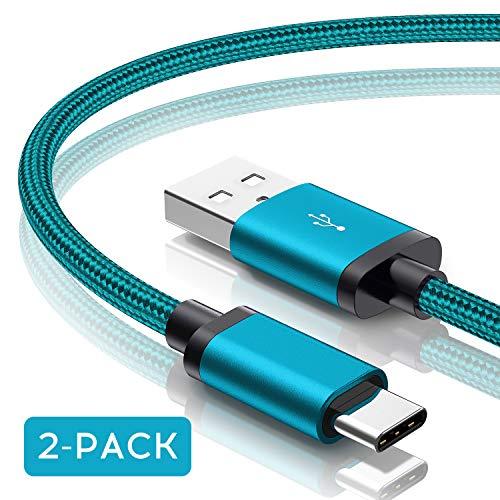 Für Samsung Galaxy S10 USB C Ladekabel, F&ro [2-Pack 1M] Nylon Typ C Kabel/Datenkabel für Samsung Galaxy S10 / S10e / S10+ / S9 Plus / S8 / S8 Plus, Note 8 / Note 9 & mehr (Prism Green/Grün)