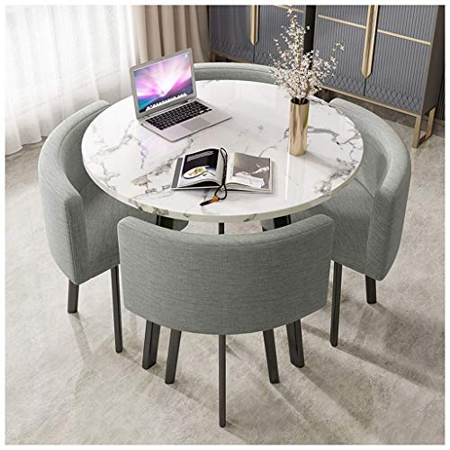 Daily Equipment Round Home Living Room Dining Table 90cm Marble Round Table Simple Office Leisure Table Retro Metal Legs 4 Cotton Linen Seats Business Hotel Office Reception Room Coffee Shop Desser