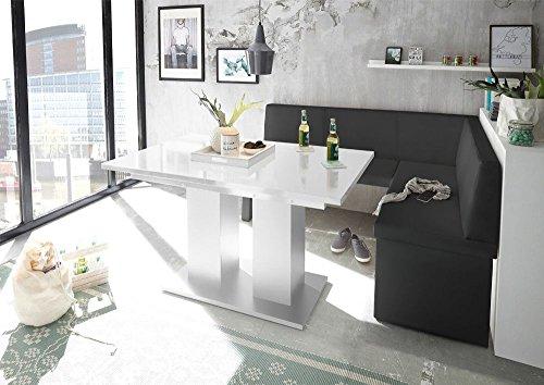 MyStyleWood Eckbank Olga Schwarz mit Säulentisch Weiß Küchenbank Sitzecke dick gepolstert Kunstleder pflegeleicht stabiles Holzgestell 168x128R