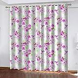 Evvsovs Flores De Planta Rosa Sala De Estar Dormitorio Cortinas Ventana Set De Dos Paños, 220 (Ancho) X215 (Alto) Cm