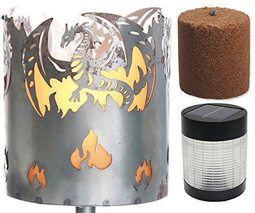 Novaliv Gartenfackel Drache Feuerschale Metall mit Stiel Brennmittel Solarlampe LED