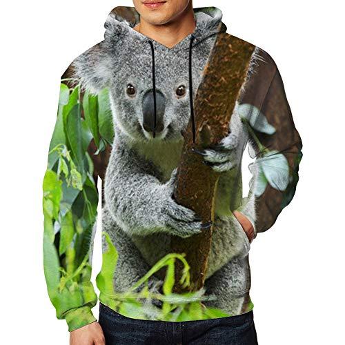 Felpa con Cappuccio da Uomo Koala Bear Zoo Animals Wildlife Casual Autunno e Inverno Maniche Lunghe S