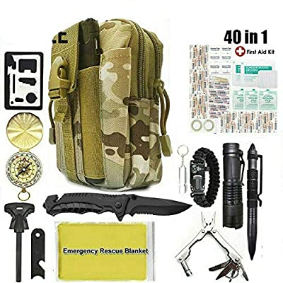 40 in 1 Outdoor Camping Survival Kit Military Tactical Backpack Emergency Gear - by Candy Cane