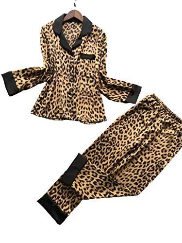 Chongmu 2St Sexy Damen Schlafanzüge Seide Langärmelig Satin Nachtwäsche Leopardenmuster Pijama Hosen
