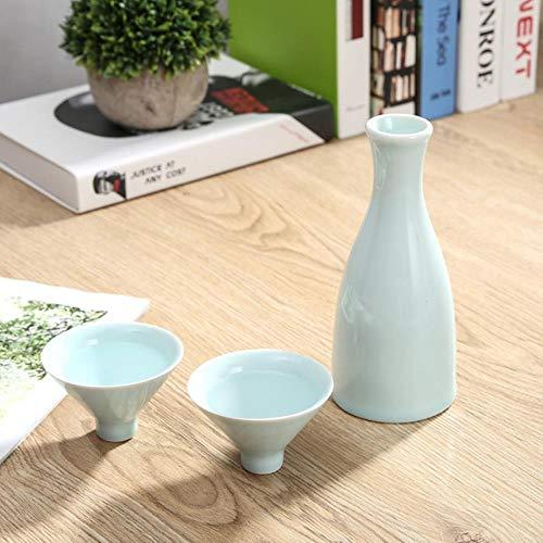 Bamboe Hoed 1 Pot 2 Cup Sake Wijn Set Keramische Kruik 300 Ml 45 Ml Wodka Geesten Gift Wijn Home Bar Keramische Drinkware Decanter Blauw