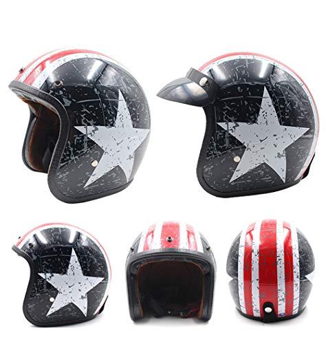 ZYSQTK Helm Adult Cycling Bike Verstelbare Lichtgewicht Elektrische motorhelm Harley retro helm cap rijden halve helm 54-59cm
