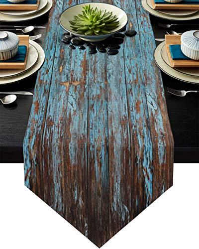 COMMER Camino de mesa, estilo retro envejecido, de madera, para decoración de mesa, para bodas, ceremonias de graduación, banquetes (33 x 228 cm)