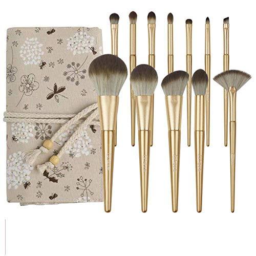 N /A QJYNS Ensemble de pinceaux de Maquillage,Pinceau à paupières, Pinceau à Poudre en Vrac Outils de Maquillage pour débutants 12 Paquets avec Un Cadeau Exquis de Fibre de Pinceau Floral Blanc