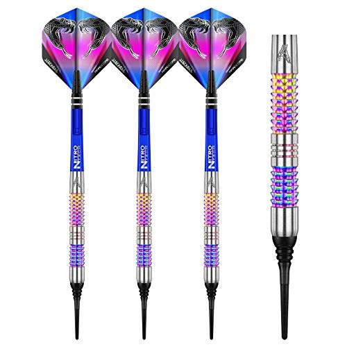 RED DRAGON Peter Wright Snakebite Rainbow Mamba Soft-Tip - 18g - 90% Tungsten Steel Dartpfeile mit Snakebite Flights, Schäfte & RED DRAGON Checkout Card