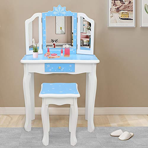 JOYMOR Kids Vanity Set, Wooden Princess Makeup Table with Stool, Tri-Folding Mirror, Large Drawer, Solid Wooden Legs Pretend Beauty Make Up Dressing Play Set for Girls Best Gift (Blue)
