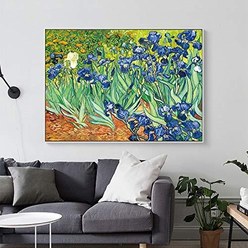 Berühmte Ölgemälde Iris Blume von Van Gogh Leinwand Wandkunst PrintWall Artwork Leinwand Poster und Drucke Bilder für Wohnzimmer Home Decoration-Rahmenlose Malerei70x100cm