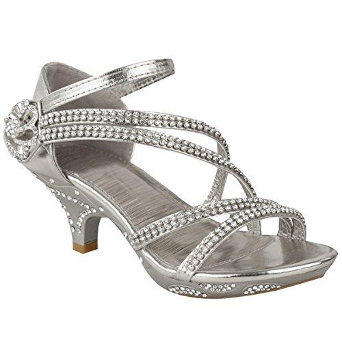 Neue Mädchen-kinder Niedriger Absatz Hochzeit Strass Sandalen Brautjungfer Party Schuhe UK Größe - Silber Metallic, KIDS UK 2/EU 35 / US 4