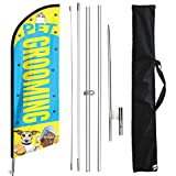 FSFLAG Pet Grooming Swooper Windless Flag Sign Banner with Flagpole Kit and Ground Stake, 11 Foot Advertising Feather Flags Signs Banners Pole Kit for Pet Grooming