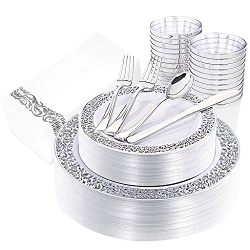 IOOOOO 160 Pieces Silver Plates, Silverware, Silver Cups& Hand Napkins Includes 40Forks, 20Spoons, 20Knives, 20DinnerPlates, 20DessertPlates, 20Tumblers, 20Towels