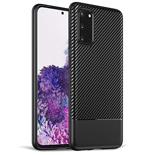 NALIA Design Case kompatibel mit Samsung Galaxy S20 Hülle, Carbon Look Stylische Handyhülle Stoßfeste Silikon Schutzhülle, Dünne Handy-Tasche Phone Cover Gummi Bumper Soft Etui Kratzfest - Schwarz