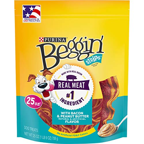 Purina Beggin' Strips Made in USA Facilities Dog Training Treats, With Bacon & Peanut Butter Flavor - 25 oz. Pouch, Model:00038100148537