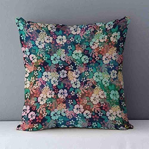 LZBDKM kussensloop voor sofakussens, bedrukt, tropische bloemen, Scandinavische planten, 45 x 45 cm, sierkussen, linnen