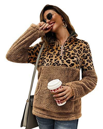 cappotto donna maculato Loalirando Felpa Donna Maglione in Pile Caldo Cappotto Donna Invernale Leopardato Elegante Scollo Alto con Zip