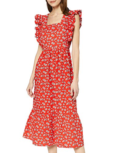 Marchio Amazon - find. Maxi Dress Boho a Fiori Donna, Multicolore (rosso floreale), 38, Label: XXS