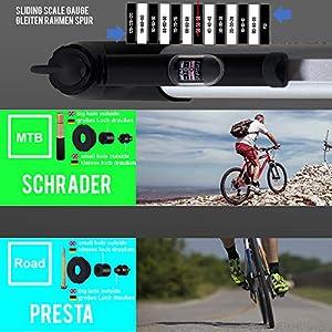 VeloChampion Bomba de Bicicleta Alloy 9 con manómetro - Presta/Schrader 8.3 Bar (120 PSI) - portátil, compacta, Duradera, rápida y fácil de Usar (Pump)