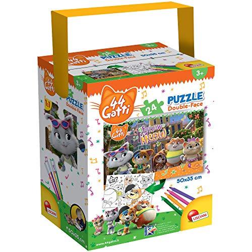 Liscianigiochi-44 Gatti Meow Puzzle in a Tub Mini, Multicolore, 24 Pezzi, 76260