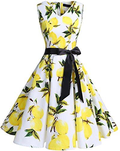 bridesmay 1950er V-Ausschnitt Kleid Vintage Cocktailkleid Rockabilly Retro Schwingen Kleid Faltenrock White Lemon 4XL