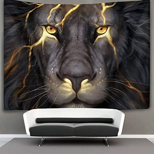 Golden Cool Lion King Paninting Tapestry Trippy Art Wall Hanging Home Decor Extra Large Tapestries Tablecloths Blanket Curtain Decoration Black Light Poster 60 X 70 inches for Bedroom Living Room Dorm