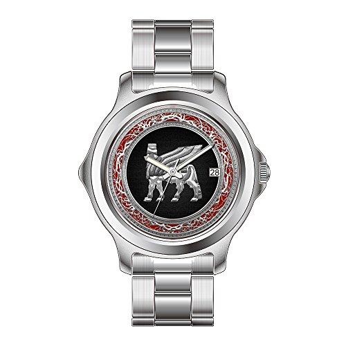 FDC–Navidad Regalo Relojes Mujer Fashion Fecha de Cuarzo japonés Reloj de Pulsera de Acero Inoxidable Reloj de Pulsera, Babylonian Toro Alado [Plateado] [3D]