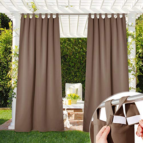 NICETOWN Outdoor Curtain for Patio Waterproof, Self-Stick Tab Top Blackout Indoor Outdoor Living Divider Wind Resistant Thermal Insulated Slider for Porch & Pergola, 52' Wide, Tan, 1 Piece