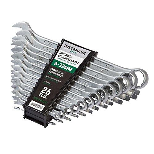 Set chiavi con forchetta e anello da 26 pezzi 6-32 mm | WIESMANN 80270 | set chiavi per viti con supporto per trasporto