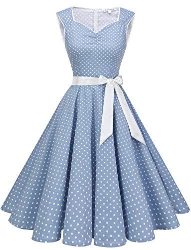 Gardenwed Damen 60er Jahre Rockabilly Kleid Polka Dot Abendkleider Elegant für Hochzeit Blue Small White Dot M