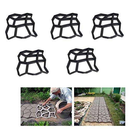 HG® 5X D.I.Y Pflasterform Gehweg Betonpflaster Gießform Garten Schablone mit 9 Kammer 43 x 43 x 4cm