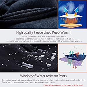Biylaclesen Mens Winter Pants Windproof Fleece Lined Softshell Hiking Snowboard Pants