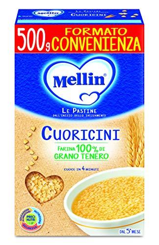 Mellin Pastina Cuoricini, con Farina di Grano Tenero, 12 Confezioni da 500 gr