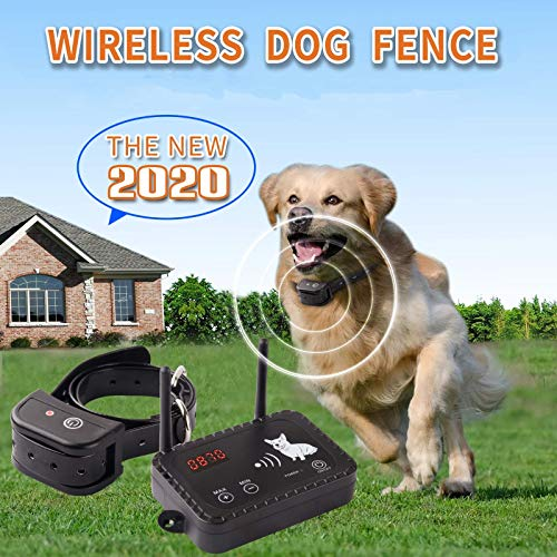 Wireless Dog Fence Electric Pet Containment System, Safe and Easy to Install Vibrate/Shock Dog Fence, Adjustable Control Range 900 Feet, Rechargeable Waterproof Collar (1 Collar Kit + 14 Flags)