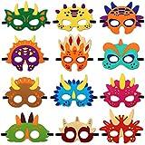 Rhdekoein Máscara de dinosaurio de fieltro con temática de dinosaurio para fiestas de cumpleaños para niños y niñas (12 unidades)