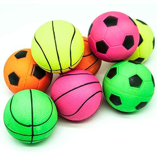 8 x 6 cm große Hundebälle aus Gummi mit hoher Sprungkraft, schwimmendes Hundespielzeug für Langeweile beim Sport, Tennis, Basketball, Baseball, Fußballball für Hunde (hell, 8 Bälle)
