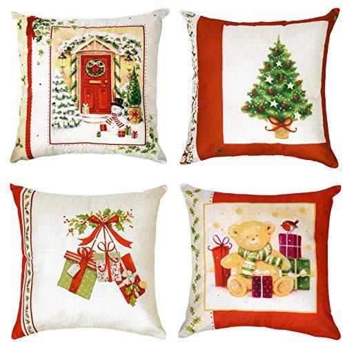 MELLIEX 4 Stück Kissenbezug Weihnachten, Dekokissen Kissenhülle mit Weihnachtlichen Muster Leinen Kissenbezüge für Sofa Auto Büro Bett Zuhause Wohnzimmer 45 x 45cm