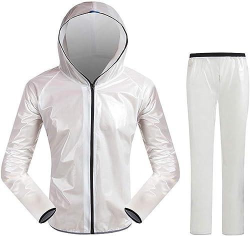 Geyao Veste imperméable pour vélo de Montagne Alpinisme Pantalon imperméable Fendu pour Hommes et Femmes Sports de Plein air (Couleur   blanc, Taille   M)