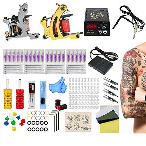 WFWPY Stigma Tattoo Kits de Machines à Tatouer Professionnelles 2 Pro Tatouage Debutant Disposable Purple Short Needle Mouth 20 pcs