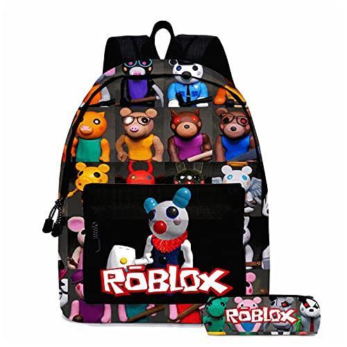 ZBK Juego Roblox Piggy Theme - Mochila para portátil con estuche para lápices para niños y niñas, 3 colores