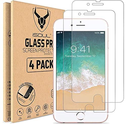iSOUL [4 Stück] Panzerglasfolie kompatibel mit iPhone 6, iPhone 6s, iPhone 7, iPhone 8 [4,7 zoll] HD Displayschutzfolie, 9H Härte, Kratzfest, Blasenfrei Schutzfolie