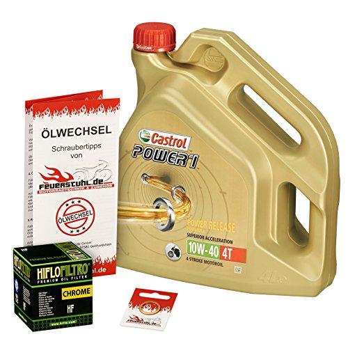 Castrol 10W-40 Öl + HiFlo Ölfilter für Kawasaki VN 1500 Mean Streak, VNT50P - Ölwechselset inkl. Motoröl, Chrom Filter, Dichtring