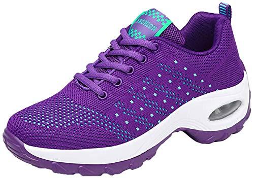 Kauson Mujer Zapatos Poco Profundos Encaje de Verano de Adelgazar Zapatillas de Deporte Cuña Zapatos para Correr Plataforma Sneakers con Cordones Calzado de Malla Air Tacón 4cm Negro Negro Gris 35-42
