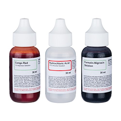 Negative Stain Kit - Set of 3 30mL Microscope Stains - Congo Red, Hydrochloric Acid, Formalin Nigrosin Solution