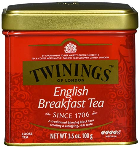 Twinings English Breakfast Tea - Schwarzer Tee lose in der Tee-Dose - kräftiger Schwarztee aus hochwertigen Teeblättern, gepflückt in Sri Lankas und Indiens besten Teegärten, 100 g